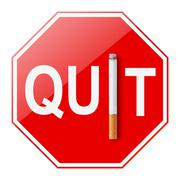 Quit smoking sign on white background - stock photo