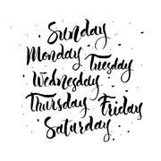 Sunday, Monday, Tuesday, Wednesday,  Thursday, Friday, Saturday Stock Illustration