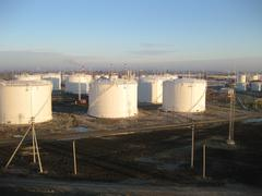 Storage tanks for petroleum products Stock Photos