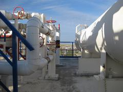 Heat exchangers in a refinery - stock photo