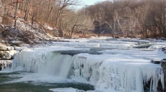 Frozen Lower Cataract Falls Loop Stock Footage