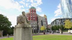 Monument to Spanish painter Ignacio Zuloaga near Bilbao Fine Arts Museum Stock Footage