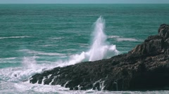 Stock Video Footage of Ocean Waves Breaking on Rock Boca do Inferno