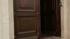 Door of luxury apartment house or hotel under video surveillance, arts museum Stock Footage