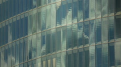 Glass wall of modern high-rise business center, office building in city center Stock Footage