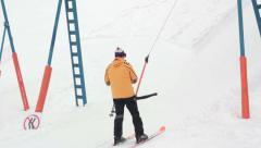 Ski Platter Button T-bar Lift, seamlessly loopable Stock Footage