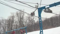 Ski resort  pulled by the cable to ski on snow Stock Footage