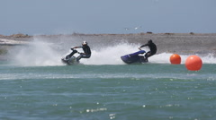 jetski standing slow motion on corner - stock footage