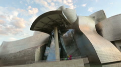Extraordinary architecture of contemporary art museum in Bilbao, modern building Stock Footage