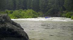 Wide shot of rafting boat Stock Footage