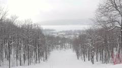 Russia. Samara 23 01 2016. Mountains ski resort nature in during snowfall Stock Footage