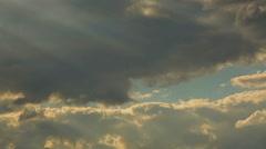 Horizontal panorama of beautiful evening sky, sun rays shining through clouds Stock Footage