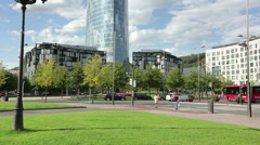 All glass business office center and modern buildings in beautiful European city Stock Footage