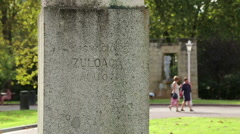 Monument to painter Ignacio Zuloaga outside Museum of Fine Arts in Bilbao, Spain Stock Footage