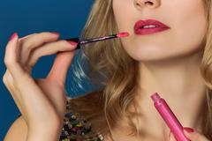Pink lips valentines day party pink lipgloss Stock Photos