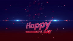 Happy valentines day 4K red-blue Stock Footage