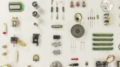 Electronic and mechanical parts, components Stock Footage