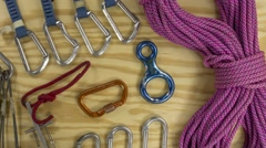 Rock and mountain climbing gear Stock Footage