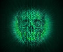 Virus skull in digital code. Stock Illustration