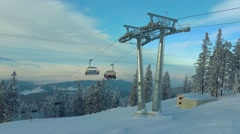 Chairlift in Poiana Brasov resort, Romania Stock Footage