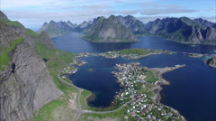 Above Reine on Lofoten islands in Norway Stock Footage