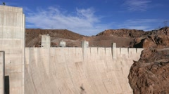 The huge wall of Hoover Dam between Nevada and Arizona in 4k Stock Footage