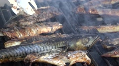 Fish barbecue, salmon on grill Stock Footage