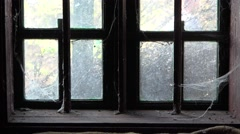 Haunted old abandoned house window Stock Footage