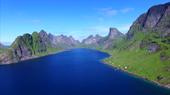 Aerial footage of picturesque fjord on Lofoten islands, Norway Stock Footage