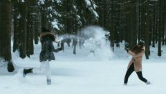 Two cheerful young adult attractive Caucasian girls having a snowball fight Arkistovideo