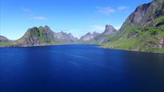 Ascending above beautiful fjord on Lofoten islands, Norway Stock Footage