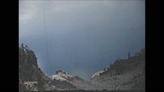 Vintage 16mm film, 1955, crater lake, wide shot Stock Footage