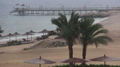 Wind and rain on the beach near the sea Stock Footage