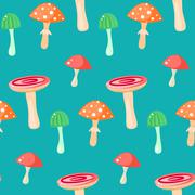 Spring forest russule mushroom seamless pattern Stock Illustration