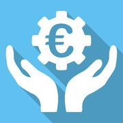Euro Maintenance Long Shadow Square Icon Stock Illustration