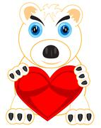 Polar bear with heart Stock Illustration