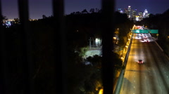 Tracking Shot of 110 Freeway in Downtown LA -Dolly Right / Pan Right- Stock Footage