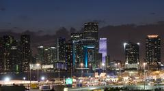 Downtown Miami At Night Stock Photos