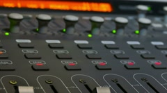 Man arm mixer musician brings remote studio music console Stock Footage