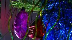 Christmas light tree toys beautiful night Stock Footage