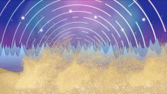 Animation desert sand storm cyclone in fantasy landscape with star rotating sky Stock Footage