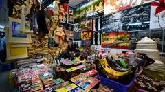 Vietnamese souvenirs in Ben Thanh marketplace in HCMC in Vietnam Stock Footage