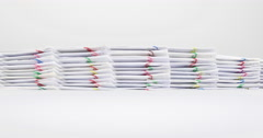 Stack paperwork of report and receipt overload time lapse Stock Footage