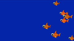 4k Cartoon goldfish toys,ocean aquatic fish,biological underwater background. Stock Footage