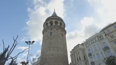 Istanbul's Galata Tower. Beyoglu, Turkey Stock Footage