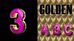 Rendered with alpha matted mode loop golden and pink letter 3 Stock Footage