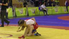 Girls compete in freestyle wrestling Stock Footage