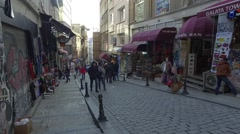 Old part of Istanbul, streets with shops Stock Footage