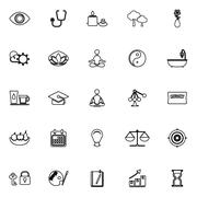 Meditation line icons on white background Piirros