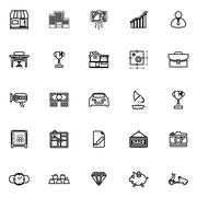 Asset and property line icons on white background Stock Illustration